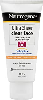 Neutrogena Ultra Sheer Clear Face Sunscreen SPF30, 88ml