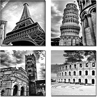Wieco Art Architectures Modern 4 Panels Giclee Canvas Prints Europe Buildings Black and..