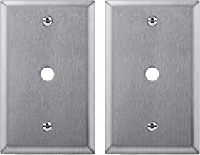 [2 Pack] BESTTEN 1-Gang 0.406-Inch Hole Metal Wall Plate for Telephone/Cable, Anti-Corrosion Stainless Steel Outlet Cover, Industrial Grade 304SS, Standard Size, Color Matched Screw Included, Silver