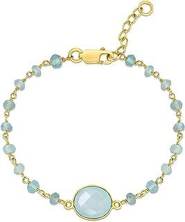 Femme Luxe Amelia Chain Bracelet for Women - 14k Gold Plated 925 Sterling Silver and Natural Gemstone Bracelet   Hypoaller...