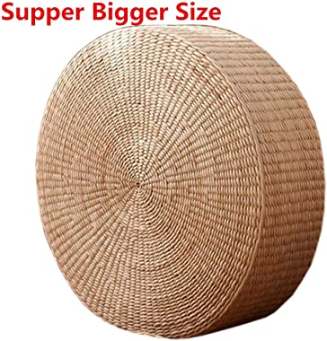 HUAWELL 2 Pack Super Bigger Size Tatami Floor Pillow Sitting Cushion, Round Padded Room Floor Straw Mat for Outdoor Seat Dia: