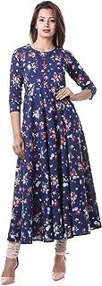 Yash Gallery Womens Cotton Floral Print Anarkali Kurta (Blue)
