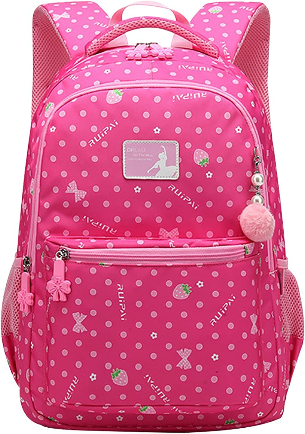 COAFIT School Backpack Cute Strawberry Print Padded Strap Backpack with Pom Pom Ball