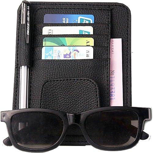 Electomania® Auto Car PU Sun Visor Sunglasses Card Holder Clip Organizer Pouch Bag Card Storage Clip (Black)