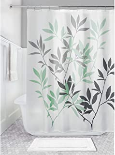 """iDesign Leaves Fabric Shower Curtain, Water-Repellent Bath Liner for Kids', Guest, College Dorm, Master Bathroom, 72"""" x 7..."""