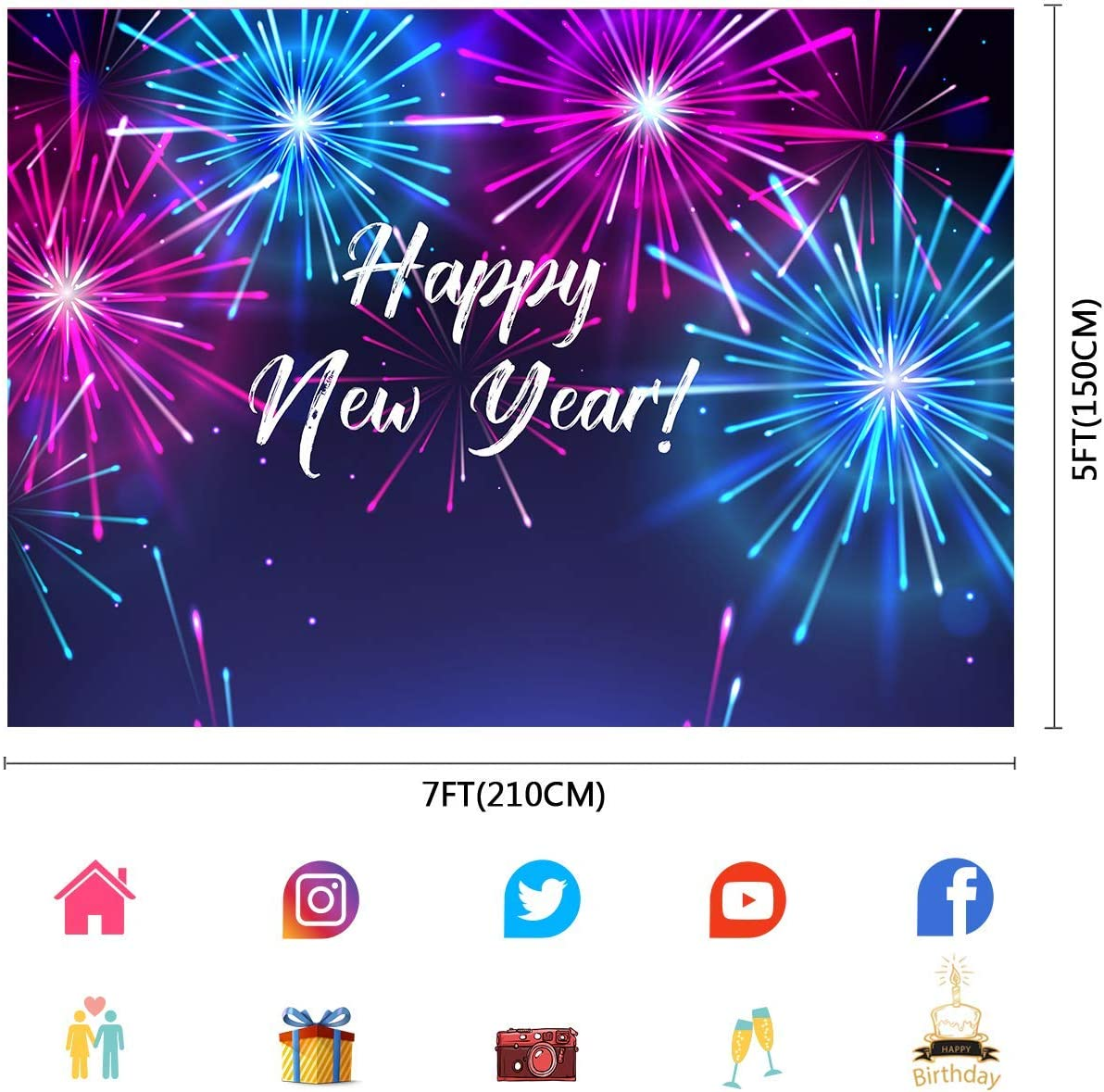 10x6.5ft Happy New Year Backdrop Photo Booth Background Photography Studio Props LLFU015