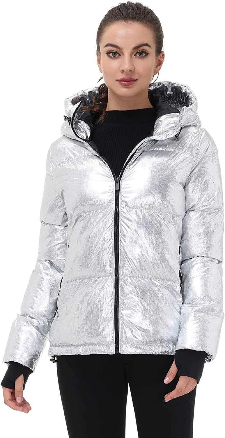 Royal Matrix Women's Lightweight Warm Winter Hooded Puffer Jacket Quilted Coat Athletic Running Jacket