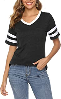 Famulily Womens Baseball Tee Short Sleeve V Neck Loose Striped Tshirt Tunic Top with Pocket