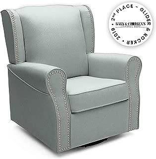 Delta Children Middleton Upholstered Glider Swivel Rocker Chair, Sea Breeze