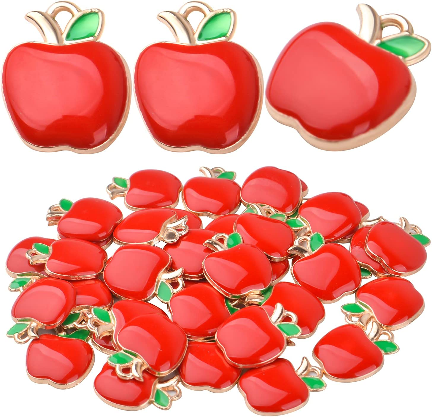 40pcs Red Apple Pendant Charms Enamel Fruit Dangle Charms Apple Bead Charms for DIY Jewelry Making Earrings Bracelets Necklace Crafts Finding Accessory