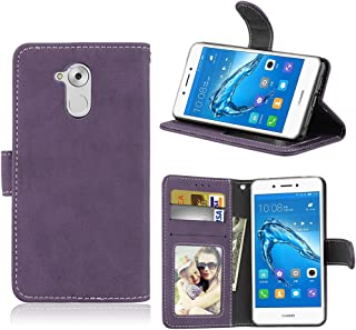 Protective Cell Phone Cases Flip Stand Case Cover Retro Style PU Leather Case with Kickstand and Card Slots for Huawei Enjoy 6s Absorption Bumper Cover (Color : Purple)