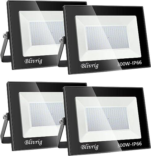 Blivrig foco led exterior,300W LED Foco Exterior, 30000LM Alto Brillo Proyector Led IP66 Impermeable Blanco Cálido 30...
