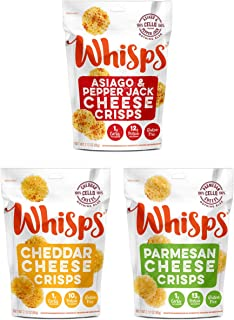 Whisps Cheese Crisps   Keto Snack, Gluten Free, Sugar Free, Low Carb, High Protein   3 Pack Assortment: Parmesan, Cheddar and Asiago & Pepper Jack 2.12oz (3 Pack)