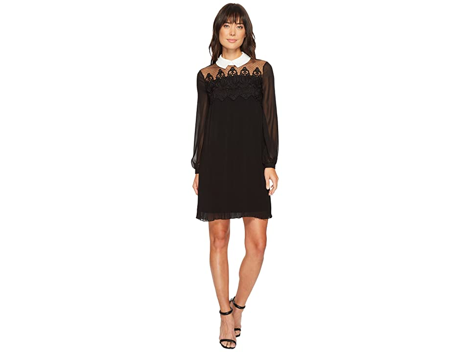 CeCe Swiss Dot Yoke Knife Pleat Dress w/ Collar (Rich Black) Women