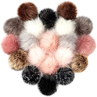 Cosweet 20pcs 4 Inch DIY Faux Fox Fur Fluffy Pompom Ball- Faux Fox Fur Pom Pom Balls with Elastic Loop Removable Knitting ...