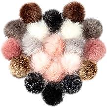 Cosweet 20pcs 4 Inch DIY Faux Fox Fur Fluffy Pompom Ball- Faux Fox Fur Pom Pom Balls with Elastic Loop Removable Knitting ...