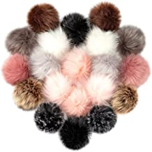 Cosweet 20pcs 4 Inch DIY Faux Fox Fur Fluffy Pompom Ball- Faux Fox Fur Pom Pom Balls with Elastic Loop Removable Knitting Hat Accessories for Hats Shoes Scarves Bags Keychains (10 Color-Dark)