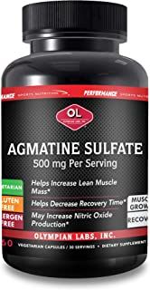 Olympian Labs Agmatine Sulfate 500mg | 60 Capsules | Pre Workout Supplement, Improve Strength, Build Muscle