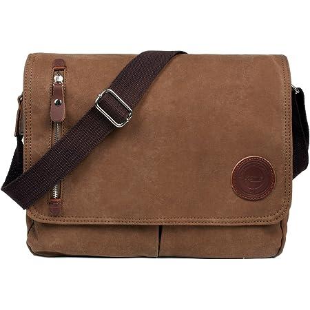 LOSMILE Bolsa Bandolera de Tela de Lona para Hombre, Vintage Canvas Bolso de Hombro para Messenger Bag para Trabajo Uni Viaje Deporte. (Marrón)