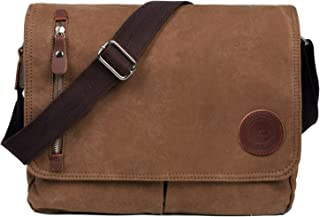 LOSMILE Bolsa Bandolera de Tela de Lona para Hombre A Caqui,Unisex Vintage Canvas Bolso de Hombro para Messenger Bag para ...