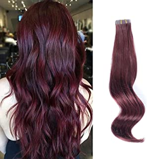 ABH AmazingBeauty Hair Semi-permanent Real Remi Remy Human Tape real Hair Extensions 50g 20pcs Skin Weft Tape Attached Invisible Seamless Reusable Cherry Wine Color 99J 16 Inch