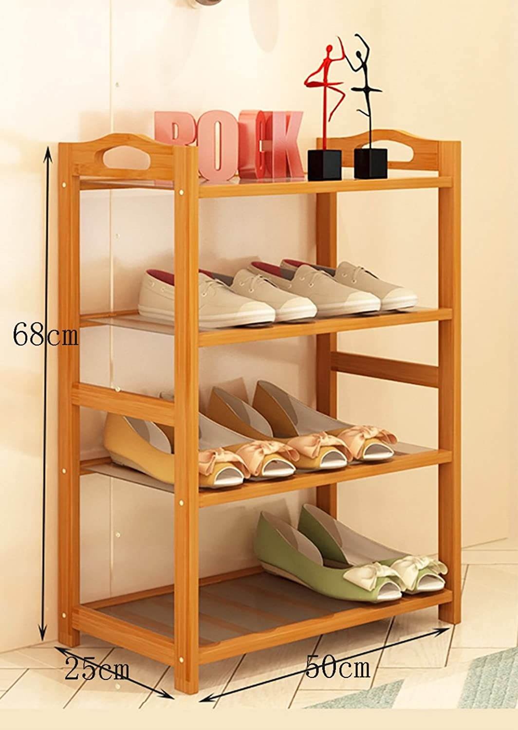 shoes Bench Organizing Rack shoes Racks Nanzhu Home shoes Cabinet Assembly Modern Storage Racks Multi - Functional Bamboo Shelves (color   B, Size   50cm)