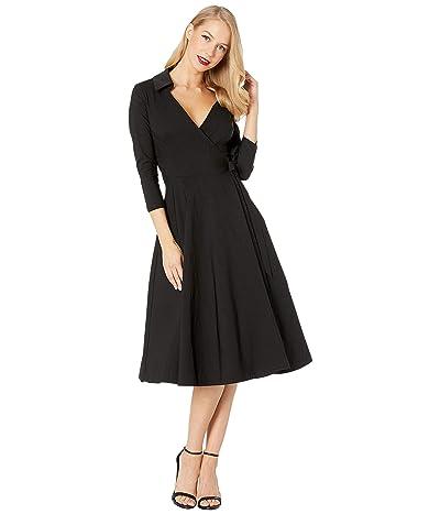 Unique Vintage Anna Wrap Dress (Black) Women