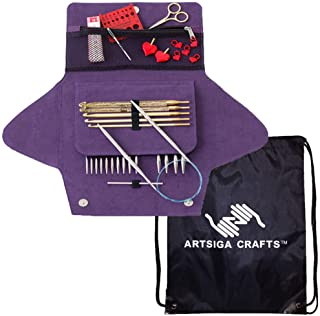 addi Knitting Needles Click Grab N Go Interchangeable Circular System White-Bronze Finish Skacel Exclusive Blue Cords Bundle with 1 Artsiga Crafts Project Bag