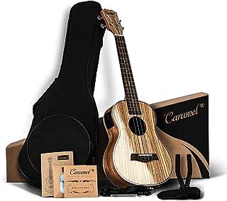 Caramel 26 inch CT103 Zebra Wood High Gloss Tenor Electric Ukulele Professional Ukelele Kit Beginner Guitar Starter Bundle Aquila Strings, Padded Gig Bag, Strap and Wall mount Set