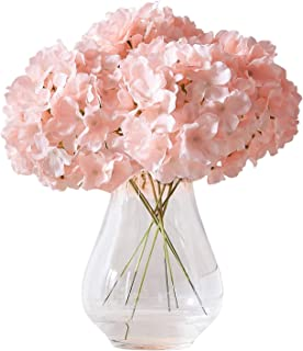 Kislohum Artificial Hydrangea Flowers Blush Heads 10 Fake Hydrangea Silk Flowers for..