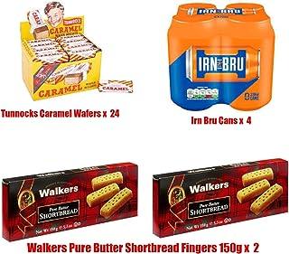 Bundle of 30 Scottish Favorites - Tunnocks Caramel Wafers 30g x 24 - Irn Bru Soft Soda Cans x 4 - Walkers Shortbread Fingers 150g x 2