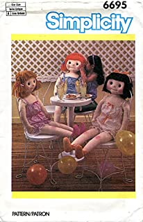 Simplicity Pattern 6695 Life-Size Doll, Romper and Slippers
