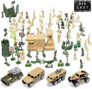 Toy Life Plastic Army Men Plus Die Cast Military Toy Vehicles Play Set | 100pc Piece Army Toys Gift Set for Boys | Includes Toy Soldiers Army Base Toy Props Plus 4 Diecast Military Toy Vehicles