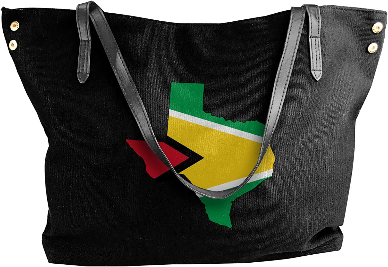 Guyana Flag Of Texas Map Women'S Leisure Canvas Sling Bag For School Handbag