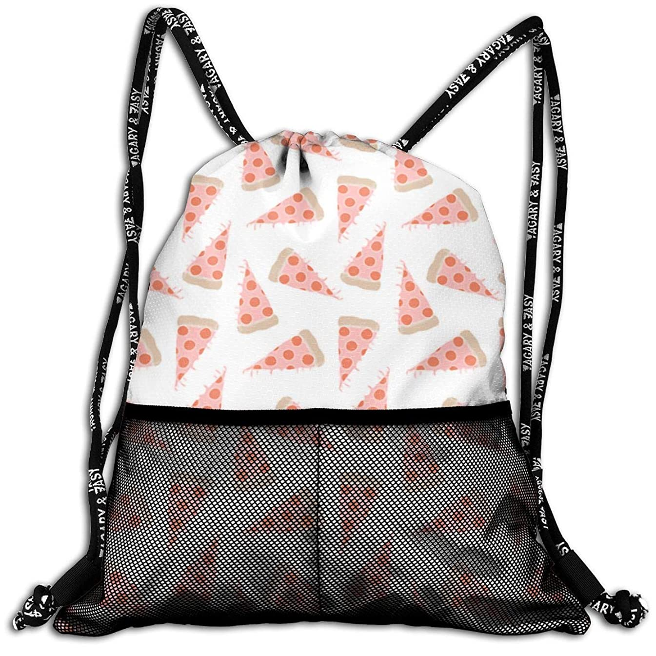 Men & Women Pizza Drawstring Bag Casual Team Training Gymsack For Gym Sports Travel