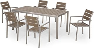 Great Deal Furniture Martina Outdoor Modern Aluminum and Faux Wood 6 Seater Dining Set, Natural and Silver