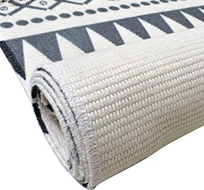 "Abreeze Cotton Area Rug Set 2 Piece 2'x3'+2'x4'4"",Hand Woven Cotton Rugs with Tassel Washable Cotton Throw Rug Runner for Kitchen, Living Room, Bedroom"