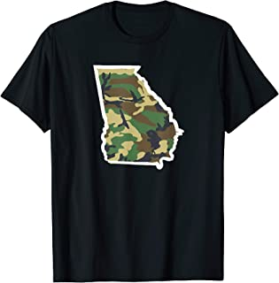 Mens Georgia Home Tshirt, Hunting Shirt, Camo Map Tee