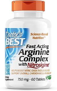 Doctor's Best Fast Acting Arginine Complex w/Nitrosigine, Boost Nitric Oxide, Blood Flow & Vessel Flexibility, Non-GMO, Ve...
