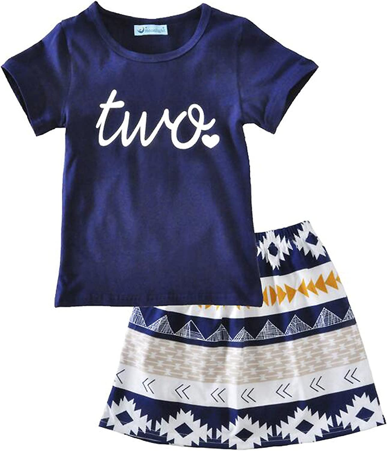 FAYALEQ Toddler Baby Girls Birthday Outfits Letter Print Short Sleeve Tops and Skirt Clothes Party Dress Set