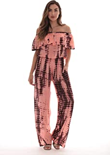 Tie Dye Off Shoulder Jumpsuit for Women Beach Swimsuit Cover Up
