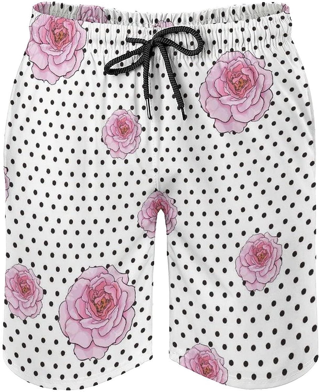 Men's Fashion Summer Board Shorts Bubble Crepe Dots Floral White