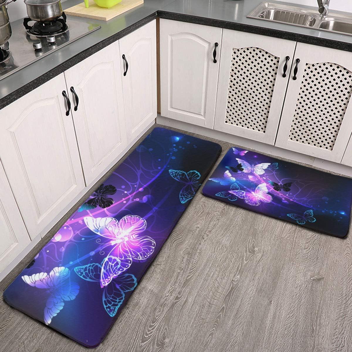 2 Pieces Non Skid Kitchen Rugs Glowing Night Butterflies Purple