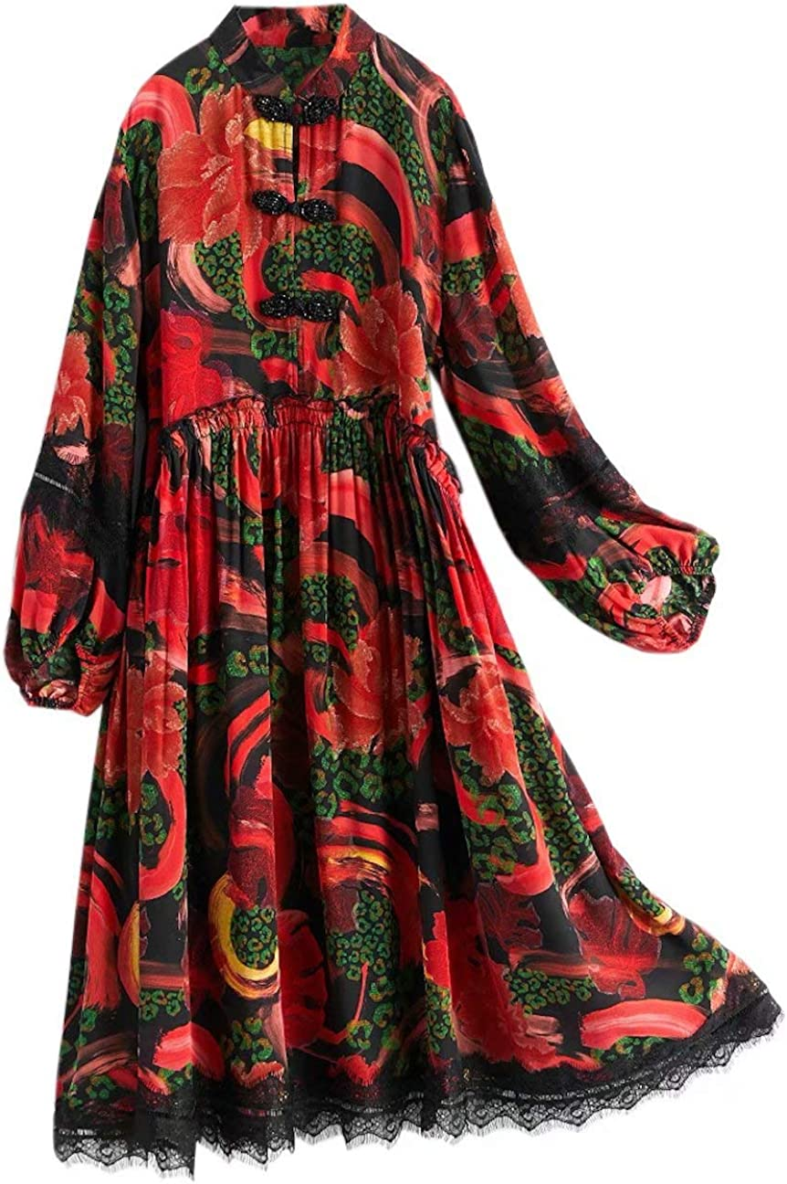 HangErFeng Everyday Dress Silk Printed Modified Cheongsam Slim Chinese Lace Decoration SkirtH2071