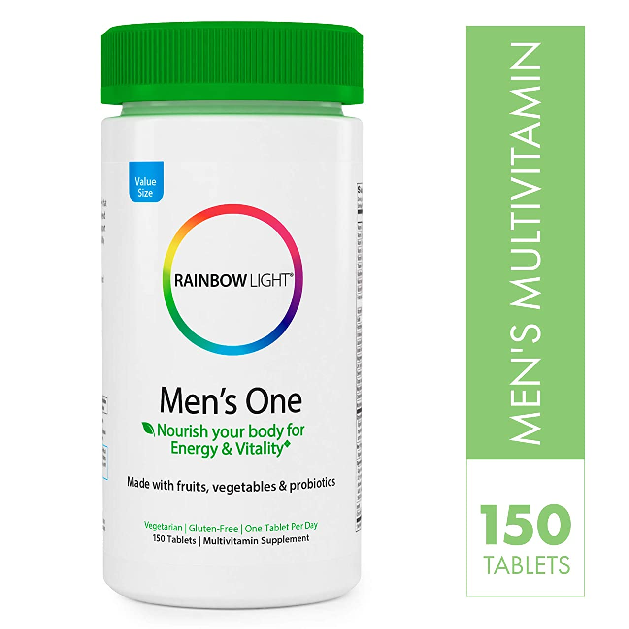 Rainbow Light Men's One Non-GMO Project Verified Multivitamin Plus Superfoods & Probiotics Tablets, 150 Count