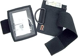 Armband Nylon Adjustable ID/Badge Holder with Zipper Pouch. Medium. Made in USA. (Black)