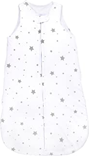 Baby Wearable Blanket- Sleep Bag Winter Weight Grey Stars for Baby Girl or Boy (0-3 Months) by Ely's & Co