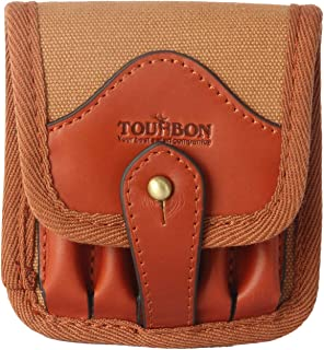 TOURBON Canvas and Leather Rifle Cartridge Holder Ammo Wallet for 5 Shells 308
