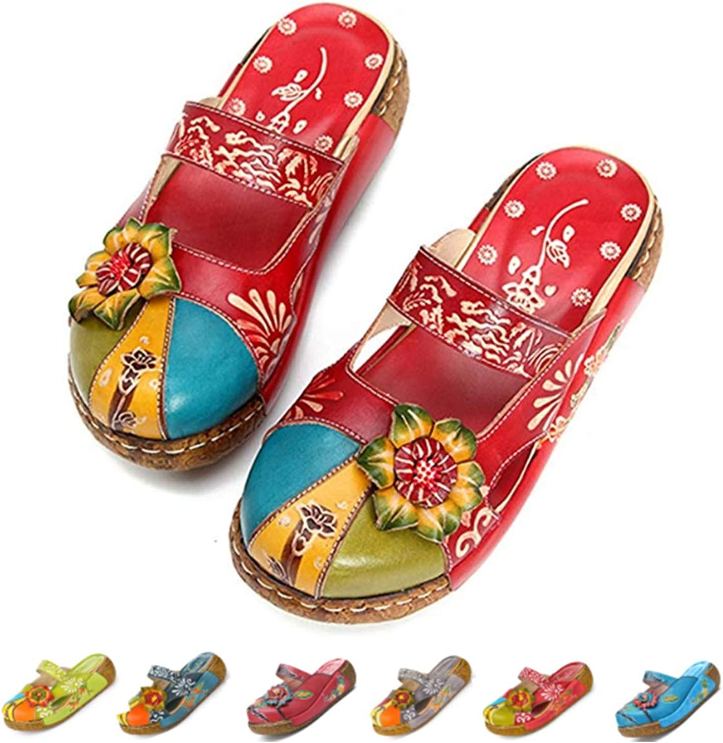 Gracosy Leather Mules for Women, Ladies Summer Slip On Closed Toe Loafer Flat Sandals Vintage Handmade Flower Oxford Holiday Beach Walking Slipper shoes