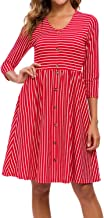 MINTLIMIT Women's Casual 3/4 Sleeve Striped Button Down T Shirt Swing Dresses with Pockets